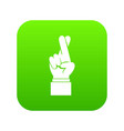 fingers crossed icon digital green vector image