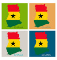flag map of ghana vector image vector image