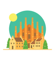 Flat design of Duomo di Milano Italy with village vector image