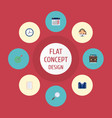 flat icons calendar group goal and other vector image