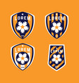 football logo badges set vector image vector image