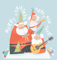 Funny santa clauses playing musical instruments