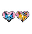grated cute fox couple animal inside the hearts vector image vector image