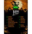 halloween menu template vector image vector image