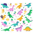 hand drawn dinosaurs cute dino bain eggs vector image