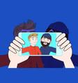 hand using smart phone camera take selfie photo of vector image vector image