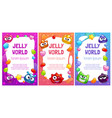 jelly world banners cute colorful templates with vector image vector image