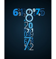 Letter T font from numbers vector image vector image