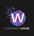 letter w logo with blue purple pink particles vector image vector image