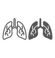 lungs line and glyph icon biology and body organ vector image vector image