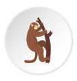 macaque is climbing up on a tree icon circle vector image