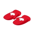 Mittens with a maple leaf icon isometric 3d style vector image vector image