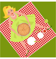 Picnic with an apple pie vector image vector image