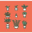 set houseplants in pots vector image