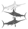set of black and white images with marlin fish vector image vector image