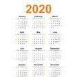 simple calendar 2020 year vector image vector image