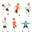 soccer characters in different action poses vector image vector image