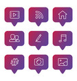 social media line icons set vector image vector image