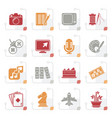 stylized hobbies and leisure icons vector image vector image