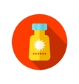 Sunscreen flat icon with long shadow vector image