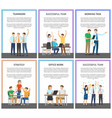 teamwork and strategy set vector image vector image