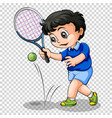 tennis player on transparent background vector image vector image