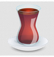 transparent cup of tea with a saucer isolated on vector image