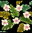 tropical leaves and flowers in the night style vector image vector image