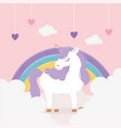 unicorn hearts rainbow clouds fantasy magic dream vector image