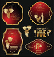 wine gold and red labels collection vector image vector image