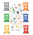worksheet riddle of different garbage bins vector image vector image