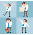 Businessman character poses set vector image