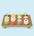 wooden tray with sushi vector image