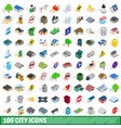 100 city icons set isometric 3d style vector image vector image