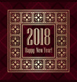 2018 new year greeting card in art deco golden vector image