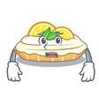 afraid cartoon piece of yummy lemon meringue pie vector image