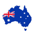 australia map with flag blue red background vector image