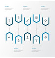 battle outline icons set collection of shot vector image vector image