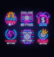 betting big collection neon signs set betting vector image vector image