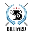 Billiard emblem with laurel wreath vector image vector image