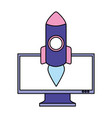 business computer rocket launching vector image vector image