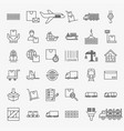 cargo line icons set vector image vector image