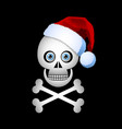 christmas skull icon with santa hat isolated on vector image