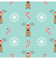 Christmas snowflake candy cane deer wearing red vector image vector image