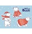Christmas sticker set with polar bears vector image
