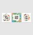 collection of square summer cards with lettering vector image