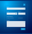 contact form on blue background vector image