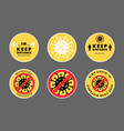 covid19-19 icons set yellow social distance vector image