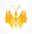 Creative woman face make a butterfly vector image vector image