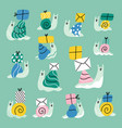 cute cartoon snail mail collection vector image vector image